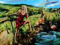 Selbstportrait mit Koi am Sonnenweg/ 2010/ Acrylic on canvas/110 x 100 cm