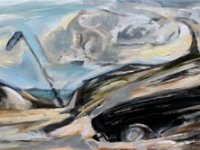 Carsharing at the seaside/ 2013/ Oil on Canvas / 180 x 30 cm