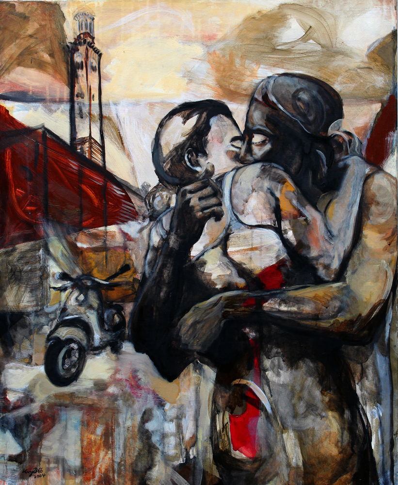 Der Kuss/ The Kiss/ 2004 / Acrylic on Canvas / 90 x 110 cm